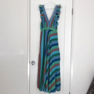 Silk Multicolor Striped Dress